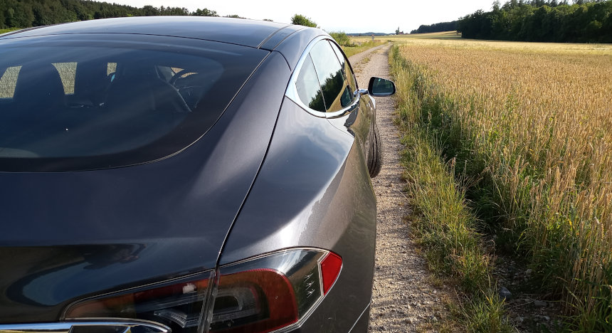 Tesla photographed from behind stands in the field