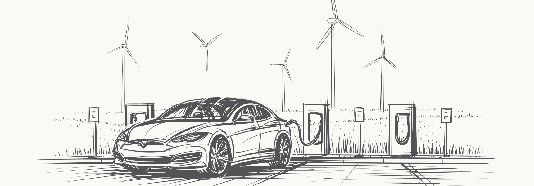 Graphic with an electric car and windmills in the background