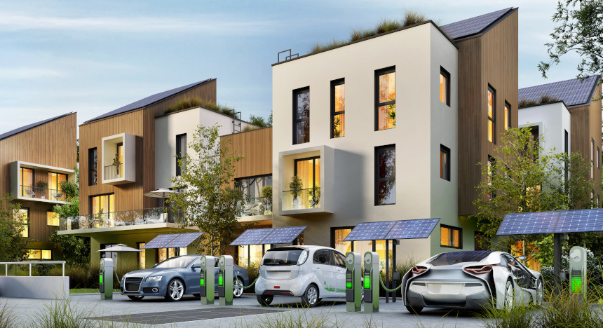 Sharing of electric car charging stations in front of a smart residential complex